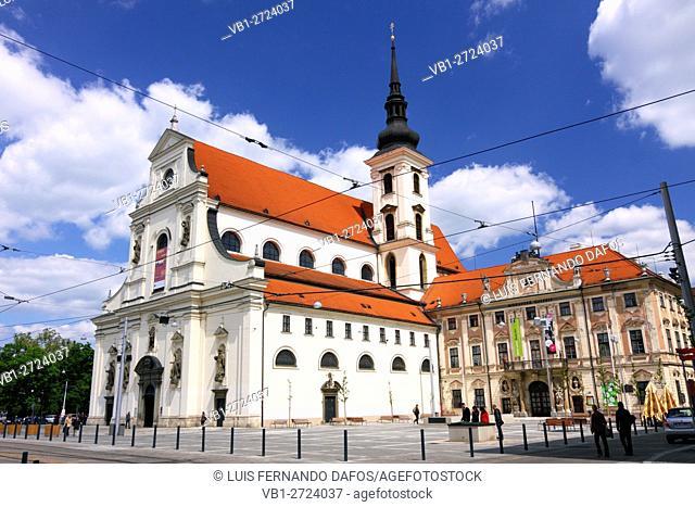 Saint Thomas Church and Moravian Gallery in Moravske namesti Brno Czech Republic