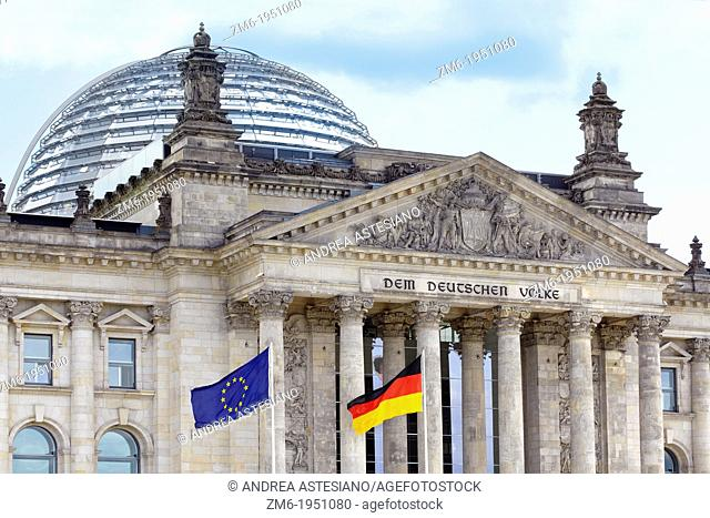 Reichstag, Berlin wih German and European flags