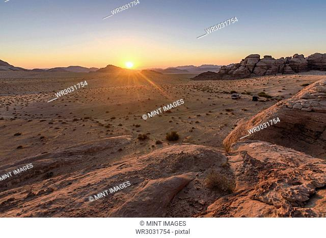 Rock formations in the Wadi Rum desert wilderness in southern Jordan at sunset
