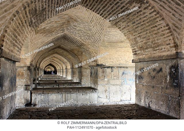 Iran - Isfahan (Esfahan), capital of the province of the same name, interior view of the 33-arch bridge. The bridge is 290 meters long and was built as a...