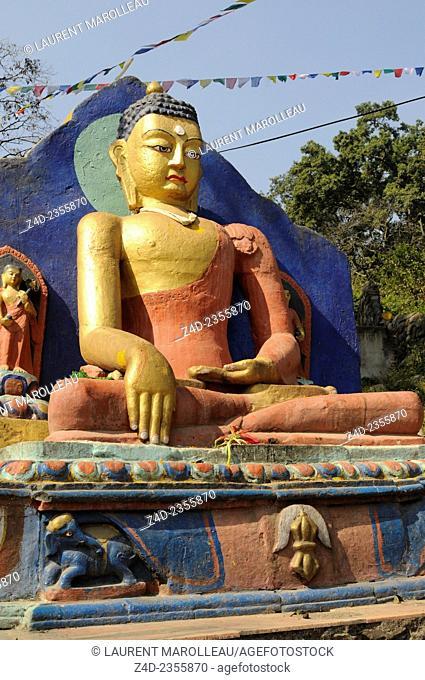 Buddah at the Entrance to the Swayambhunath Temple. Kathmandu, Bagmati Zone, Nepal