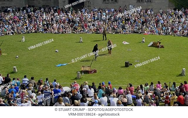 Medievel Re-enactment in the coutyard of Warwick Castle