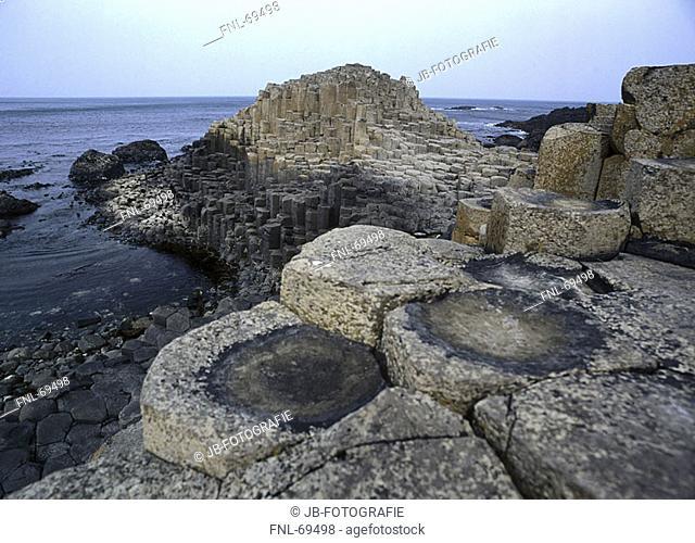 Giants basalt columns on the coast, Giant, Antrim, Giants Causeway, Northern Ireland