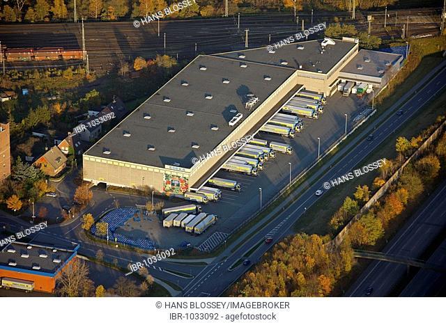 Aerial view, EDEKA administrative centre, Moers, North Rhine-Westphalia, Germany, Europe