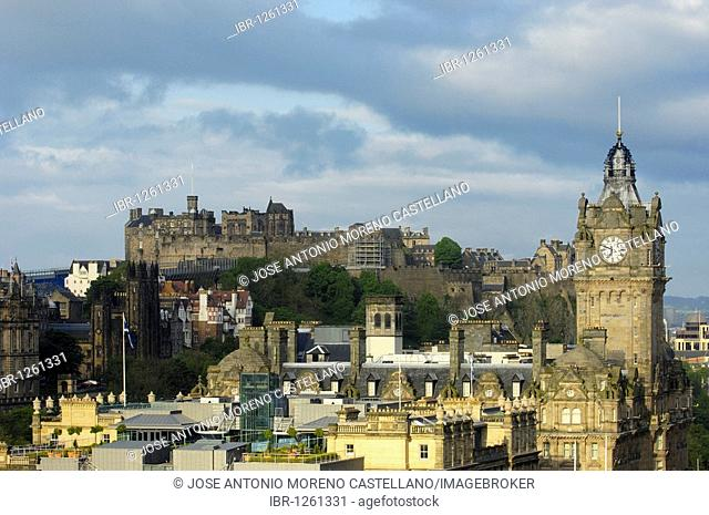 Balmoral Hotel tower and Edinburgh Castle from Calton Hill, Edinburgh, Lothian Region, Scotland, United Kingdom, Europe