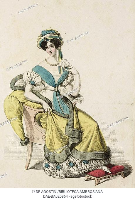 Woman wearing a white dress with blue trim, yellow coat with mink trim and hat with coloured ribbons, plate 2, Italian Fashions, Il Corriere delle Dame, 1827