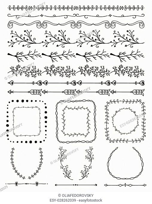 Collection of Black Artistic Hand Sketched Decorative Doodle Vintage Seamless Borders. Frames, Wreaths, Branches, Dividers. Design Elements
