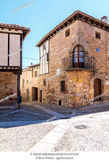 Cornered balcony, Plaza del Mercado Square, Atienza, Guadalajara province, Castile La Mancha, Spain. Historical Heritage Site