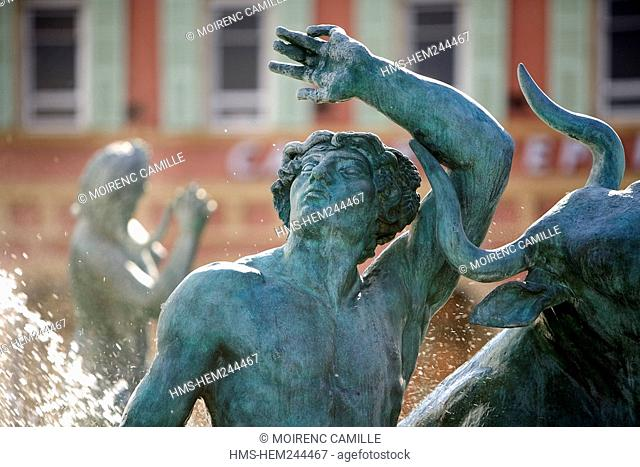 France, Alpes Maritimes, Nice, Old Town, Place Massena, Fontaine du Soleil Fountain of the Sun