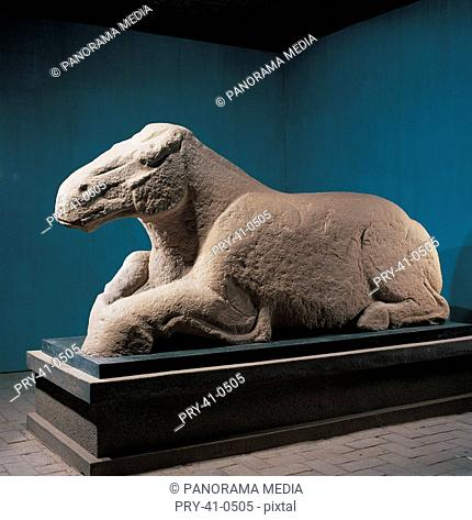Stone-carved large-sized lying horse from Grave of Huoqubing in Han Dynasty