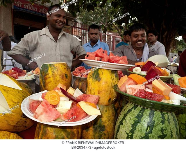 Fruitmix sold in front of an exit of the New Delhi Metro, India, Asia