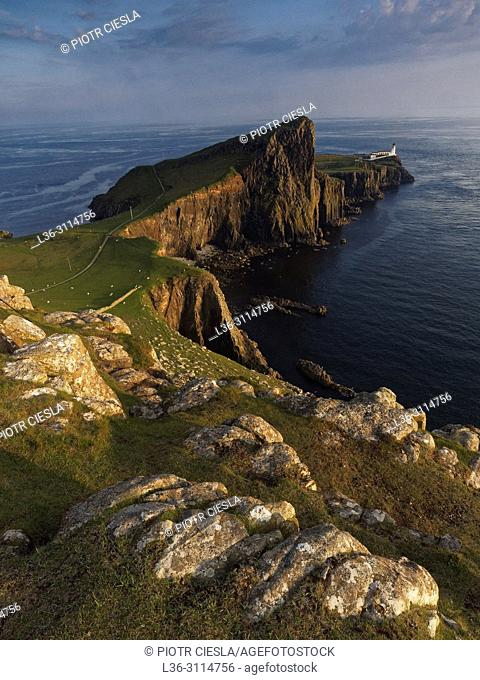 Neist Point lighthouse. Isle of Skye. Scotland