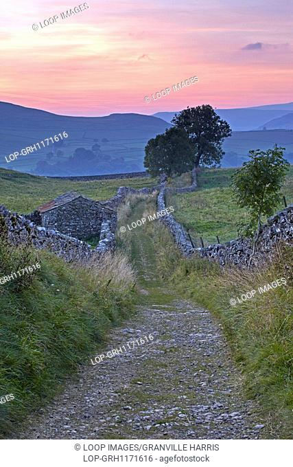 Sunset over Ribblesdale viewed from Goat Scar Lane