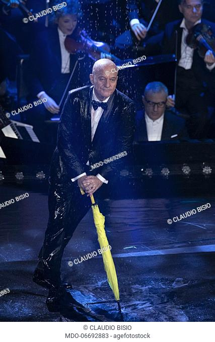 Italian presenter and comedian Claudio Bisio during the fifth and last evening of the 69th Sanremo Music Festival. Sanremo (Italy), February 9th, 2019
