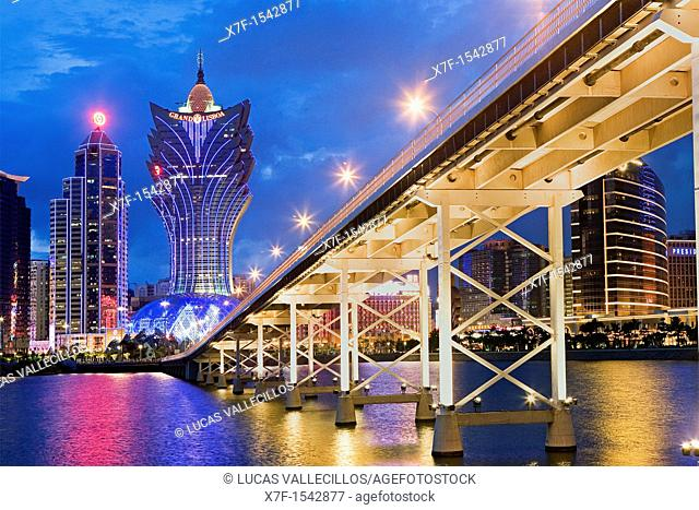 City Skyline with Bank of China Building, Grand Lisboa Hotel-Casino and Governador Nobre de Carvalho bridge,Macau,China