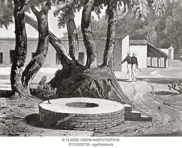 The Well at Cawnpore, India. The besieged forces of the East India Company, unprepared for an extended siege, surrendered to the rebel forces in return for a...