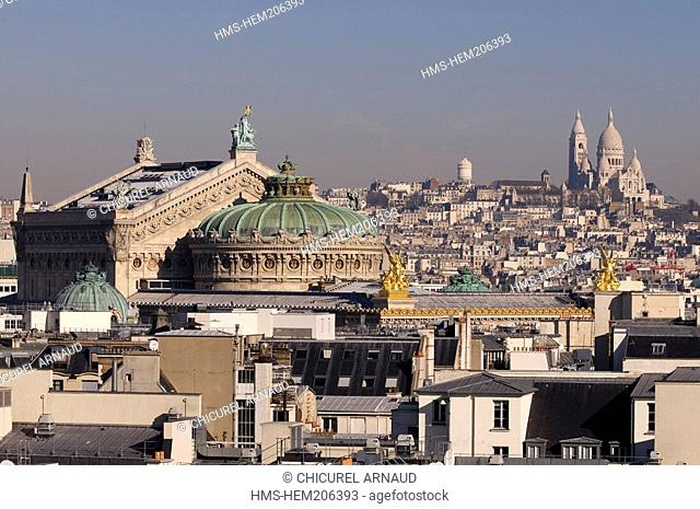 France, Paris, the Garnier opera-house and the Sacre Cœur Basilica in the background