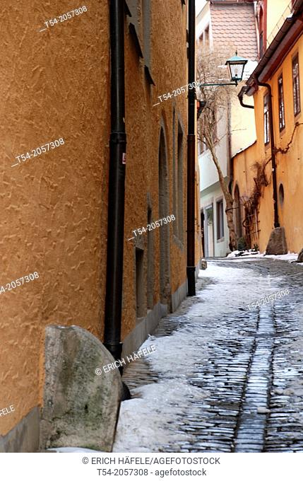 A narrow street in Rothenburg ob der Tauber in winter