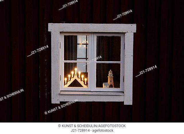 Christmas decoration in a wooden, red, swedish house. Västernorrland, Norrland, Sweden, Scandinavia, Europe