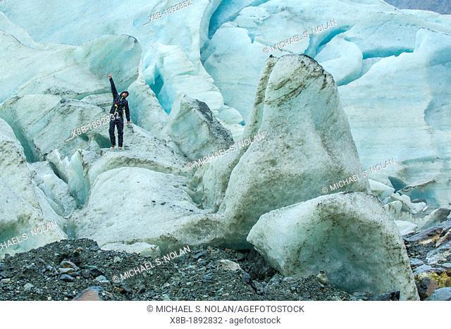 Hiker Eric Guth at the Bernal Glacier in Estero Las Montanas, Strait of Magellan, Patagonia, Chile