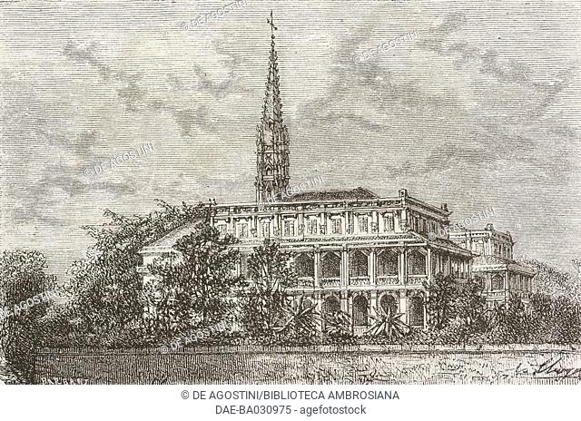Convent of Sainte-Enfance (Holy Childhood) in Ho Chi Minh City (formerly Saigon), Vietnam, drawing by Hubert Clerget (1818-1899) from a photograph
