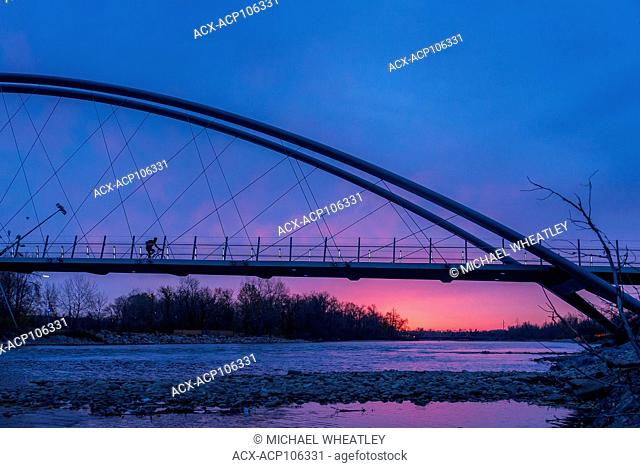 Pedestrian and bicycle bridge to St. Patrick's Island, Calgary, Alberta, Canada