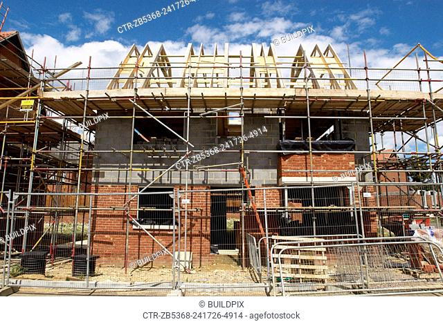 Detached house under construction, Norwich, Norfolk, UK