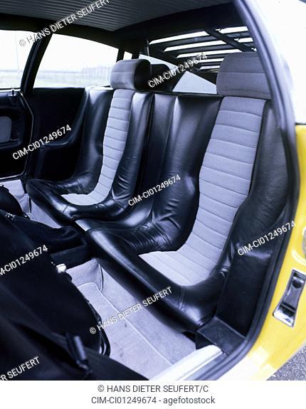 Car, Lamborghini Urraco, model year 1970, The 70s, yellow, roadster, interior view, Interior view, seats, Rear seate, technique/accessory, accessories