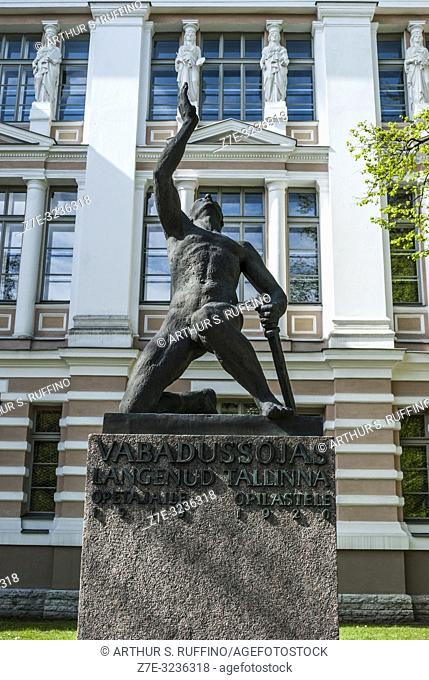 Monument for the Fallen Students and Teachers during the War of Independence, 1918-1920. Tallinn Secondary School in background