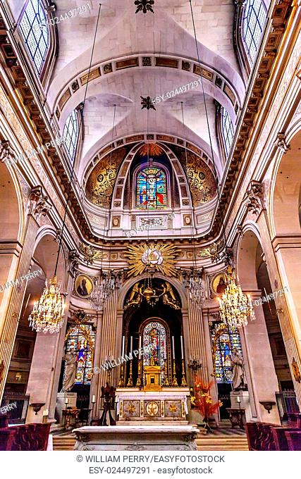 Basilica Stained Glass Church Saint Louis En L'ile Paris France. Saint Louis En L'ile church built in Notre Dame was built in 1726 on the island in back of...