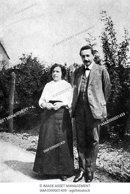 Albert Einstein 1879-1955 German-Swiss mathematician with his first wife Mileva c1905