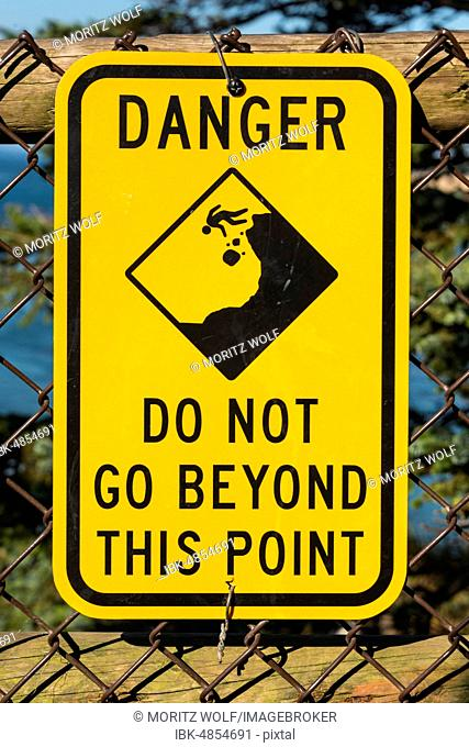 Warning, Shield, Danger, Do not go beyond this point, Oregon, USA