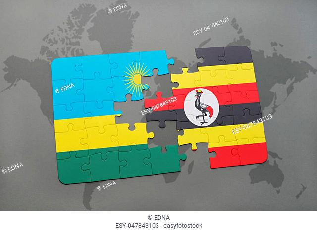 puzzle with the national flag of rwanda and uganda on a world map background. 3D illustration