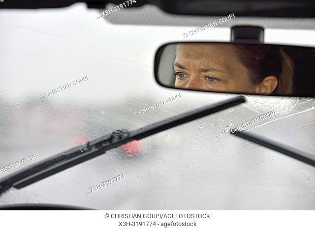 driving in rainy conditions, Malopolska Province (Lesser Poland), Poland, Central Europe