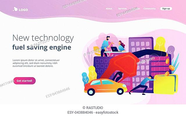 People losing money by using gas fuel cars. New technology and fuel saving engine landing page. Gas mileage, efficient eco friendly engine, violet palette
