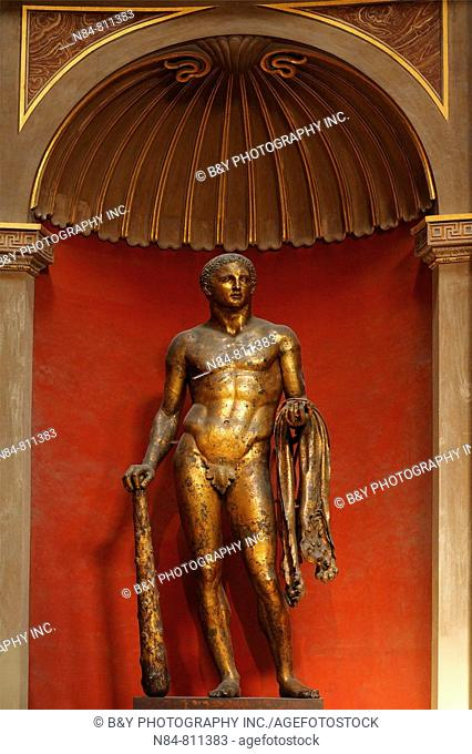 Hercules in gilded bronze statue from the late 2nd century B.C. in Sala Rotonda (Circular Room), Vatican Museums, Rome, Italy