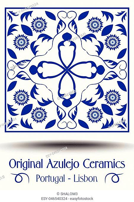 Majolica pottery tile, blue and white azulejo, original traditional Portuguese and Spain decor, vector EPS 10