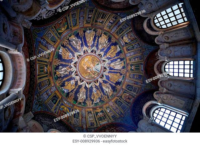 dark blue ceiling Mosaic of the neoniano Baptistery in Ravenna