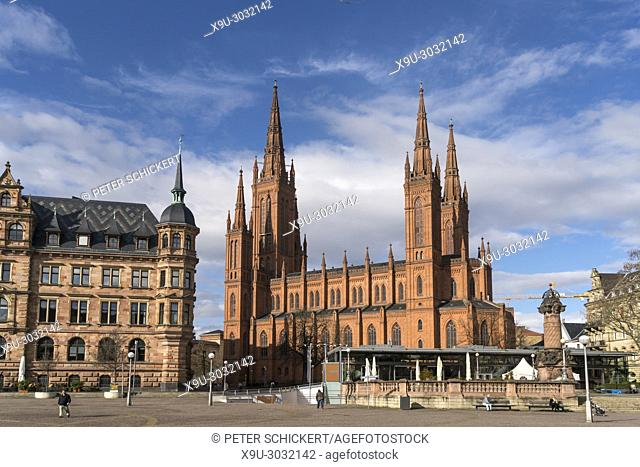 new town hall and the Protestant Marktkirche church, Wiesbaden, Hesse, Germany