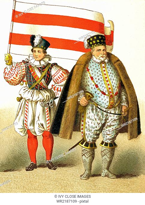 The figures in this illustration represent Germans from 1550 to 1600. They are, from left to right: an ensign and the Margrave of Brandenburg