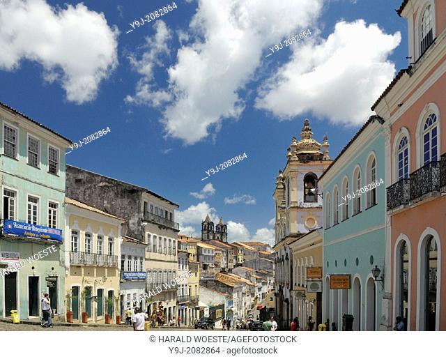 Brazil, Bahia, Salvador: Pelourinho, the beautifully restored historic center of Salvador de Bahia. --- Info: The district Pelourinho was built by the...