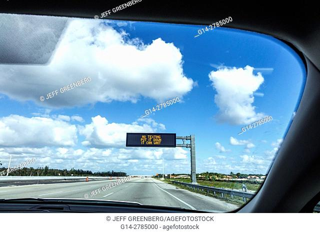 Florida, Miami, Interstate I-75, message, don't text drive, warning