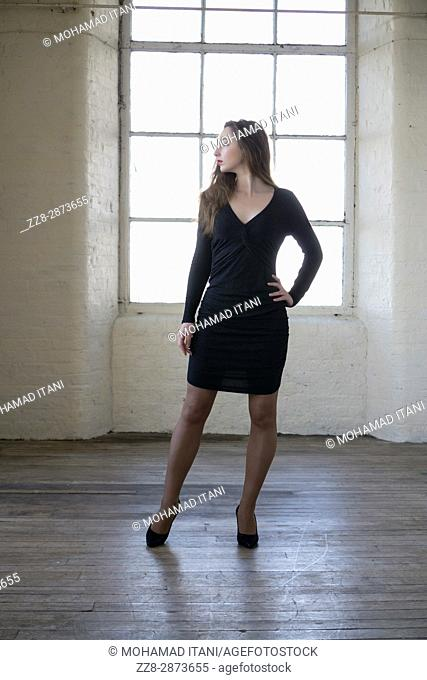 Beautiful woman wearing a dress standing by the window looking away