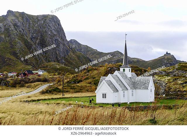 Church in Langenes, Langøya island, Archipelago of Vesterålen, county of Nordland, Norway, Europe