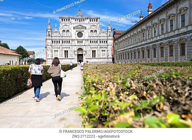 The precious facade of the Certosa di Pavia. Certosa di pavia, Lombardia. Italy