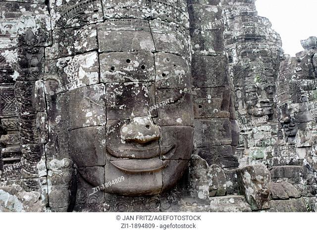 stone heads at Angkor Ta Prohm