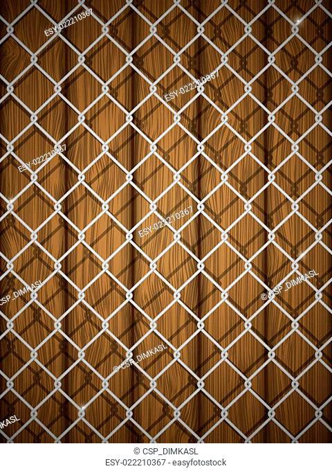 Wooden texture with chain fence