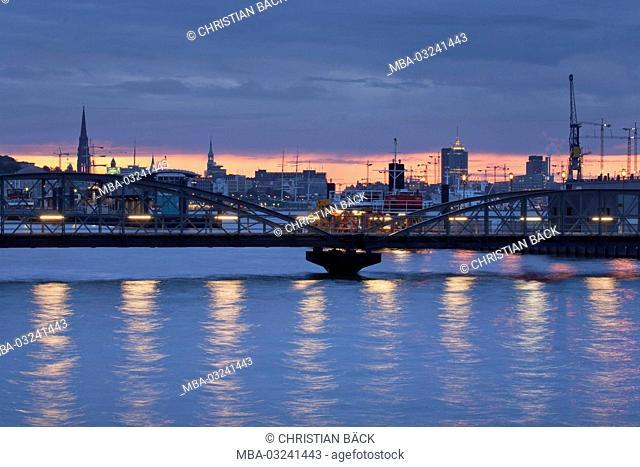 Bridge in the Hamburg harbour, Hanseatic town Hamburg, North Germany, Germany, Europe