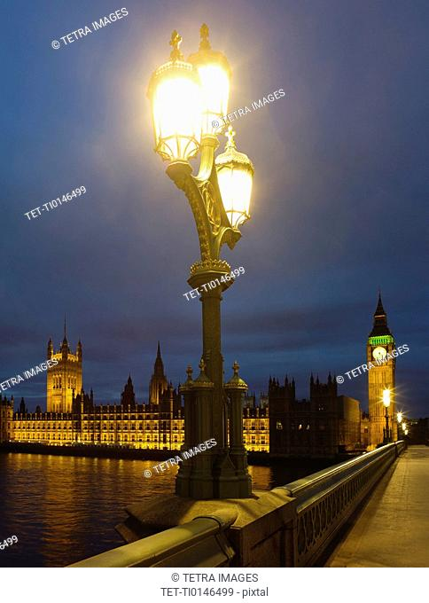 United Kingdom, London, Houses Of Parliament at night