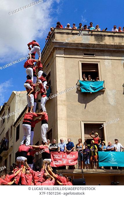 Colla Vella dels Xiquets de Valls 'Castellers' building human tower, a Catalan tradition  Vilafranca del Penedès  Barcelona province, Spain